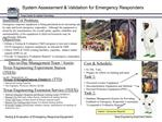 System Assessment  Validation for Emergency Responders