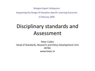 Disciplinary standards and Assessment