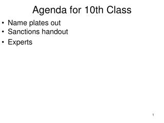 Agenda for 10th Class