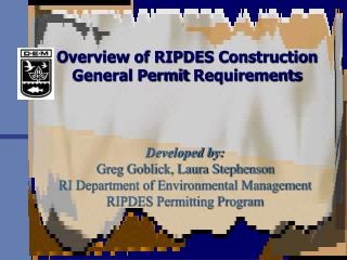 Overview of RIPDES Construction  General Permit Requirements