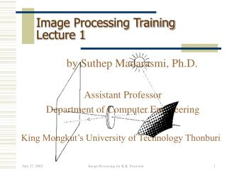 Image Processing Training  Lecture 1