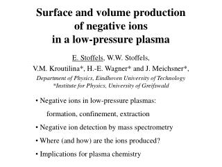 Surface and volume production  of negative ions  in a low-pressure plasma