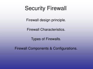 Security Firewall