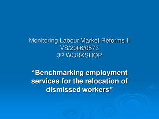 Monitoring Labour Market Reforms II VS/2006/0573 3 rd  WORKSHOP