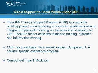 Direct Support to Focal Points under CSP