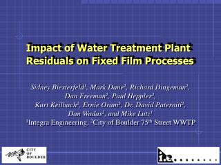Impact of Water Treatment Plant  Residuals on Fixed Film Processes