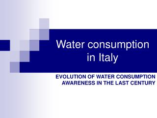 Water consumption in Italy