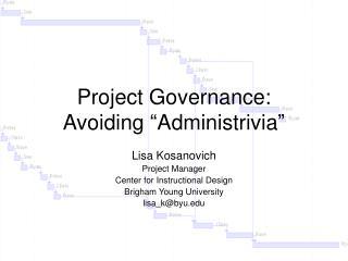 Project Governance: Avoiding
