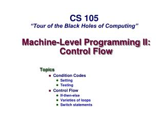 Machine-Level Programming II: Control Flow