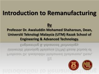 Introduction to Remanufacturing  By