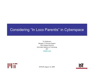 """Considering """" In Loco Parentis"""" in Cyberspace"""
