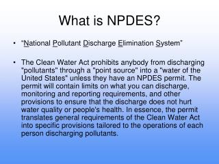 What is NPDES?