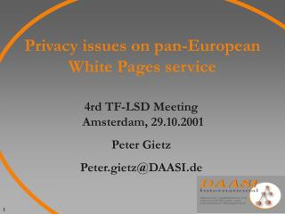 Privacy issues on pan-European White Pages service