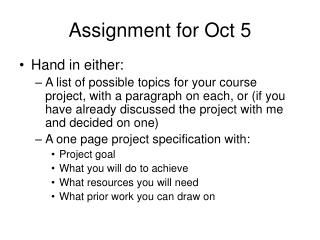 Assignment for Oct 5