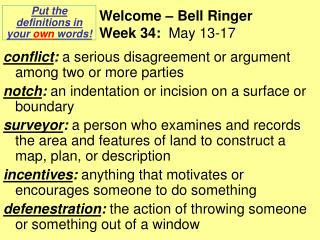 Welcome – Bell Ringer Week 34:   May 13-17