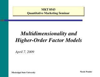 Multidimensionality and Higher-Order Factor Models