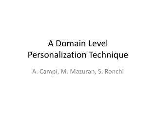 A Domain Level  Personalization Technique