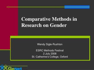 Comparative Methods in Research on Gender