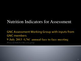Nutrition Indicators for Assessment