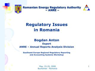 Romanian Energy Regulatory Authority  – ANRE –