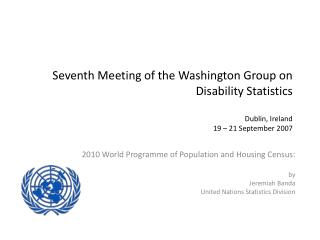 2010 World Programme of Population and Housing Census: by Jeremiah Banda