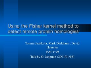 Using the Fisher kernel method to detect remote protein homologies
