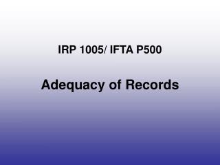 IRP 1005/ IFTA P500