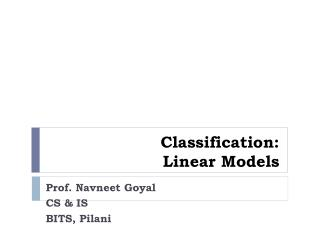 Classification:  Linear Models