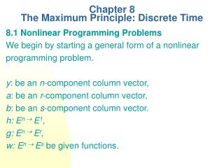 Chapter 8  The Maximum Principle: Discrete Time