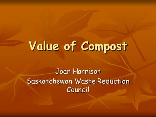 Value of Compost