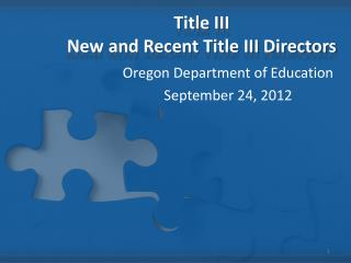 Title III New and Recent Title III Directors