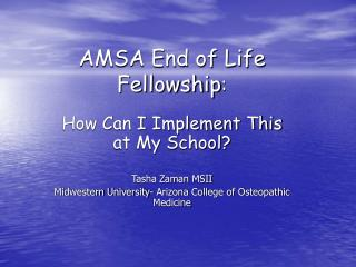 AMSA End of Life Fellowship :