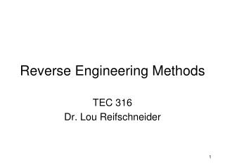 Reverse Engineering Methods