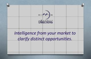 Intelligence from your market to clarify distinct opportunities.