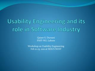 Usability Engineering and its role in Software Industry