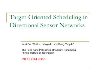 Target-Oriented Scheduling in Directional Sensor Networks