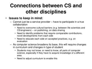 Connections between CS and other disciplines
