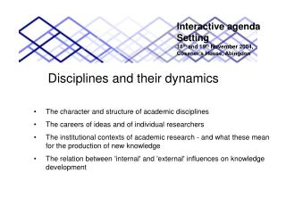 Disciplines and their dynamics