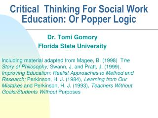 Critical  Thinking For Social Work Education: Or Popper Logic