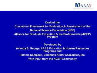 Draft of the  Conceptual Framework for Evaluation & Assessment of the