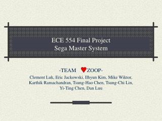 ECE 554 Final Project Sega Master System