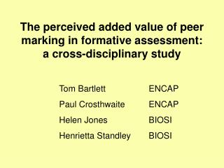 The perceived added value of peer marking in formative assessment: a cross-disciplinary study