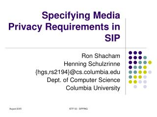 Specifying Media Privacy Requirements in SIP