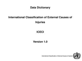 Data Dictionary  International Classification of External Causes of  Injuries ICECI Version 1.0