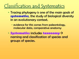 Classification and Systematics