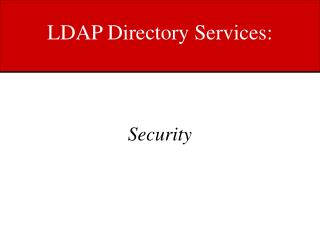 LDAP Directory Services: