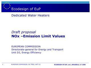 Boiler - & WH  labelling andEuropeandirective EuP