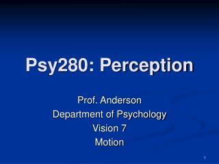 Psy280: Perception