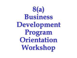 8(a) Business Development Program Orientation Workshop