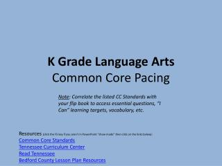 K Grade Language  Arts Common  Core Pacing